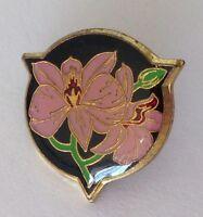 Purple Flower Lapel Brooch Pin Badge Rare Vintage (E1)