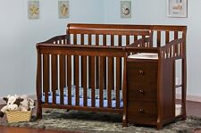 Convertible Baby Bed 3 In 1 Mini Crib Espresso With Changer Nursery Dresser Kids