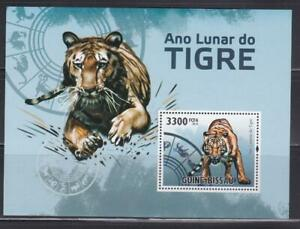 WCAT104 -  WILD CATS ANIMALS STAMPS GUINEA BISSAU 2010 YEAR TIGER SS MNH