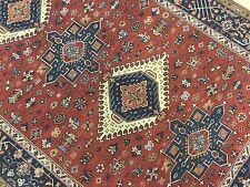 5' X 7' Rust Navy Karajeh Persian Oriental Rug Hand Knotted Wool Office/Study