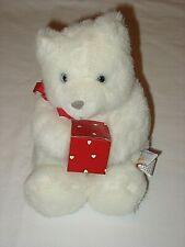 "1989 White Stuffed Plush 8"" Bear by Heart Line for Hallmark"