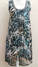 Dorothy PERKINS BLUE Animal PRINT SMART Party EVENING TuNIC DRESS UK 6 8 36 BNWT