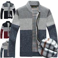 Mens Winter Warm Slim Sweater Knitted Cardigan Jumper Zip Fleece Lined Coat Tops