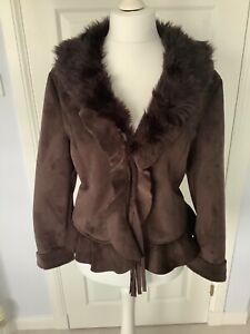 casamia brown faux suede jacket size 16