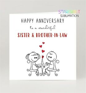 Sister & Brother-in-Law Anniversary Card, Wedding Greeting Card, Blank Inside