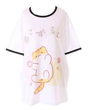 TP-181-9 Tiger Katze spielt Ball Cat Weiß Grafik langes T-Shirt Harajuku Kawaii