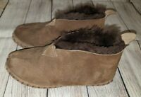 LL BEAN Women's Brown Suede Shearling Lined Wicked Good Bootie Slippers Size 5 M