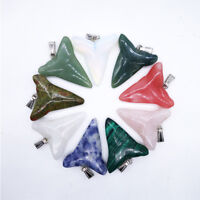 Charm Shark Tooth Necklaces Natural Crystal Quartz Stone Pendants Jewelry Making