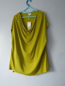"""BNWT EAST Chartreuse Draped Neck Slouchy Top  Large   Up To 48"""" Chest"""