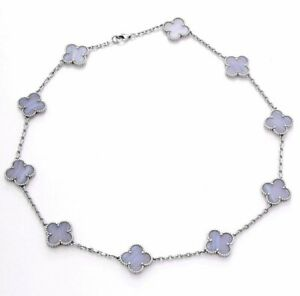AUTHENTIC Van Cleef & Arpels 18k White Gold Chalcedony Vintage Alhambra Necklace