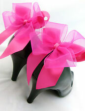 Pink Satin Shoe Clips Bow Clips 4 Shoes Burlesque Heel Bows Cerise Fuschia Party