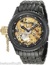 INVICTA RUSSIAN DIVER BLACK CERAMIC+GOLD TONE AUTOMATIC SKELETON WATCH 1924+BOX
