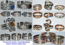 20 Rings Mixed Peruvian Metal Glass Jewelry Lot Peru Alpaca Silver Handcrafted
