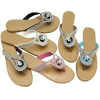LADIES FLAT SANDALS NEW WOMENS GIRLS SUMMER DRESS FANCY BEACH STRAPPY SHOES SIZE