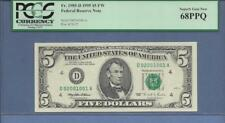 Fr# 1985-D 1995 $5 FW ((DA Block)) Federal Reserve Note  PCGS PPQ SUPERB GEM 68