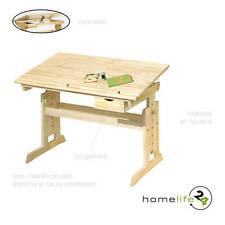 Très beau bureau enfant naturel bois massif réglable en hauteur et inclinable