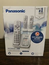 Panasonic KX-TGD533 Cordless Phone W/Digital Answering White 3 Handsets OPEN NEW
