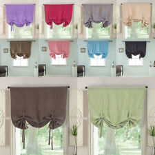 Tie-Up Roman Curtains - Rod Pocket Blackout Kitchen Balloon Window Curtain PICK