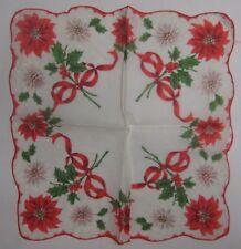 """Vintage Hankie Unused RED & WHITE POINSETTIAS Holly Berries Christmas 13.75"""""""