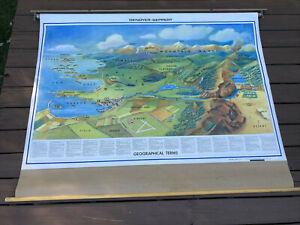"Rare Vtg Denoyer Geppert Geographical Terms Pull Down / School Map 63"" x 48"""
