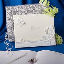 BELLISSIMO Libro Degli Ospiti Matrimonio Farfalla Design Libro degli ospiti-Crema-ricezione