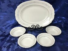 Beautiful Chodziez Oval Platter and 4 Fruit/Dessert Bowls Poland