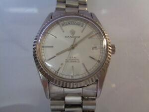 Sandoz Swiss Eta Mens Watch Day & Date Silver Dial Automatic Split Calendar