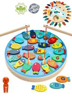 Magnetic Fishing Game Wooden Catch and Count  Fun Play Alphabet  Fishing Toy
