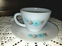 Vtg Fire King Tea Cup w Saucer Bonnie Blue Flower Anchor Hocking Milk Glass