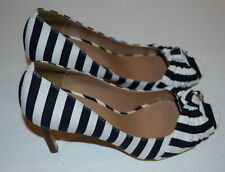 New Womens Ann Taylor Pump Sandal Shoes Stripe Black White Peep Toe 9.5