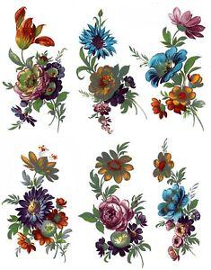 6 Meissen Wild Flower Sprays Select-A-Size Waterslide Ceramic Decals  272 Bx