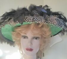 Green Hand Decorated Hat with Black Chandelle Feathers, Black White Guinea Feath