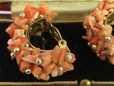 1930's Art Deco Clip on Coral Earrings