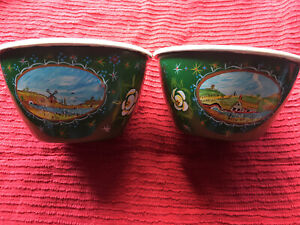 Canalware Art BargeWare Narrowboat X2 Metal Bowls Hand Painted Frank Whitney