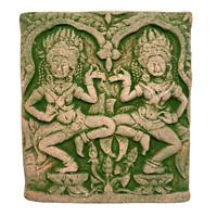 Apsara Dancing Khmer Angkor Wat Temple Green Sandstone Bas Relief Art Sculpture