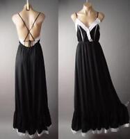 White Crochet Black Strappy Open Back Goddess Slip Gown Maxi 236 mv Dress S M L