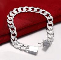 925 Sterling Silver Men's Womens Stylish Wide 10mm Bold Chain Link Bracelet D481