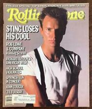 ROLLING STONE Magazine Sept 26 1985 Sting Rob Lowe Bruce Springsteen John Cougar