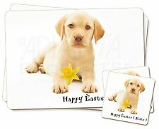 Personalised Yellow Labrador Twin 2x Placemats+2x Coasters Set in Gi, AD-L4DA2PC