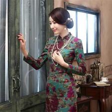 New Elegant Retro Chinese Cheongsam Dress Women Floral Qi Pao Linen Long sleeve