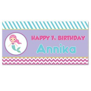 """12""""x36"""" Under the Sea Mermaid Birthday Personalized Party Banner"""