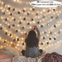 20/100 LED Photo Clip Fairy String Light Christmas Garland Wedding Party Decor