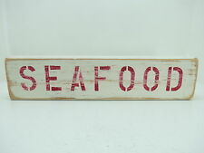 15 INCH WOOD HAND PAINTED SEAFOOD SIGN NAUTICAL MARITIME (#S650)