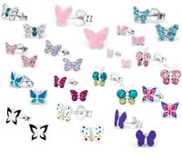 Girls Ladies 925 Sterling SILVER Stud Crystal BUTTERFLY Earrings Pretty Pair Bxd