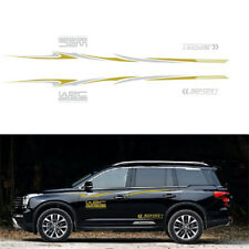 2PCS Car Both Body Sides Graphic Decal Stickers Vinyl Sports Styling Gray&Yellow