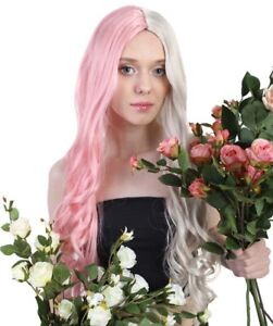 Adult Women Long Curly Half Pink and Blonde Cosplay Party Costume Wig HW-1095A