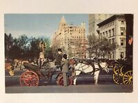 Carriages On 59th Street, New York City, NY Postcard - Postmark October, 13 1954