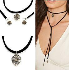 Fashion Women Multilayer Charm Bohemia Black Leather Choker Necklace Jewelry