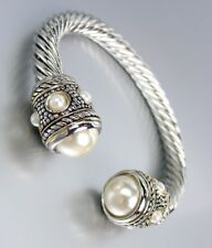 GORGEOUS Chunky BALINESE Silver Dots Cable Pearls End Tips Cuff Bracelet