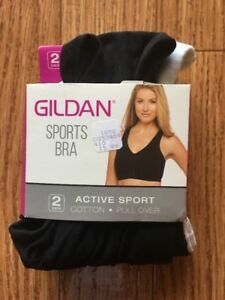 Gildan Sports Bra, Active Sport Pull Over, Medium, 2 Pack (1 White, 1 Black)